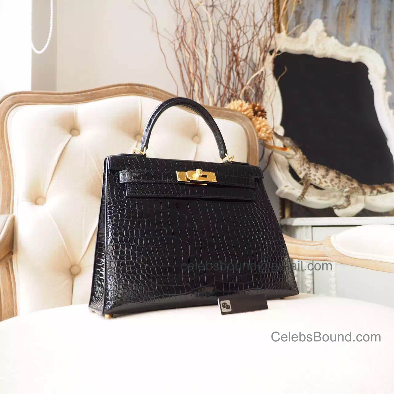 Replica Hermes Kelly 28 Bag in ck89 Noir Shiny Porosus Croc GHW