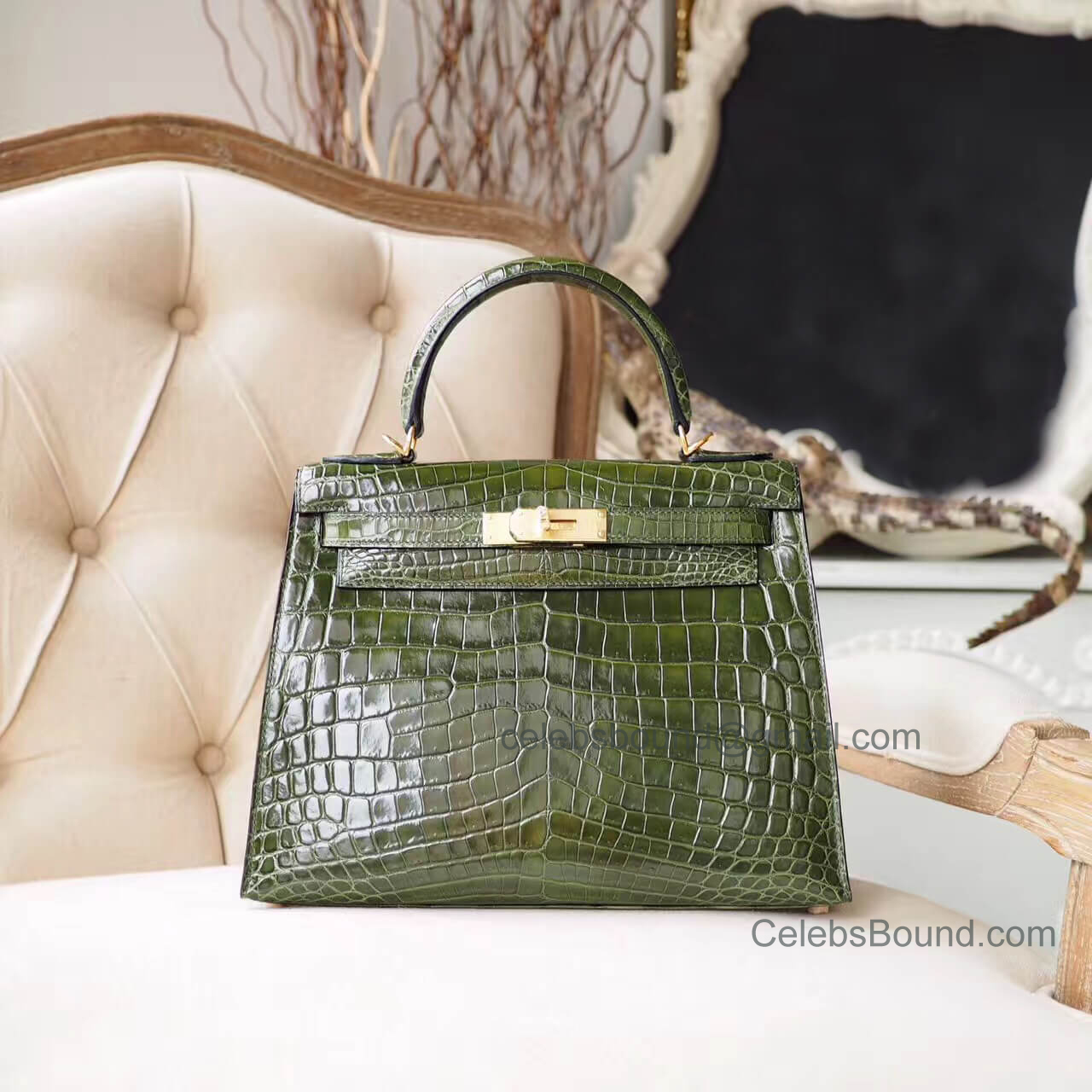 Replica Hermes Kelly 28 Bag in 6h Veronese Shiny Nile Croc GHW