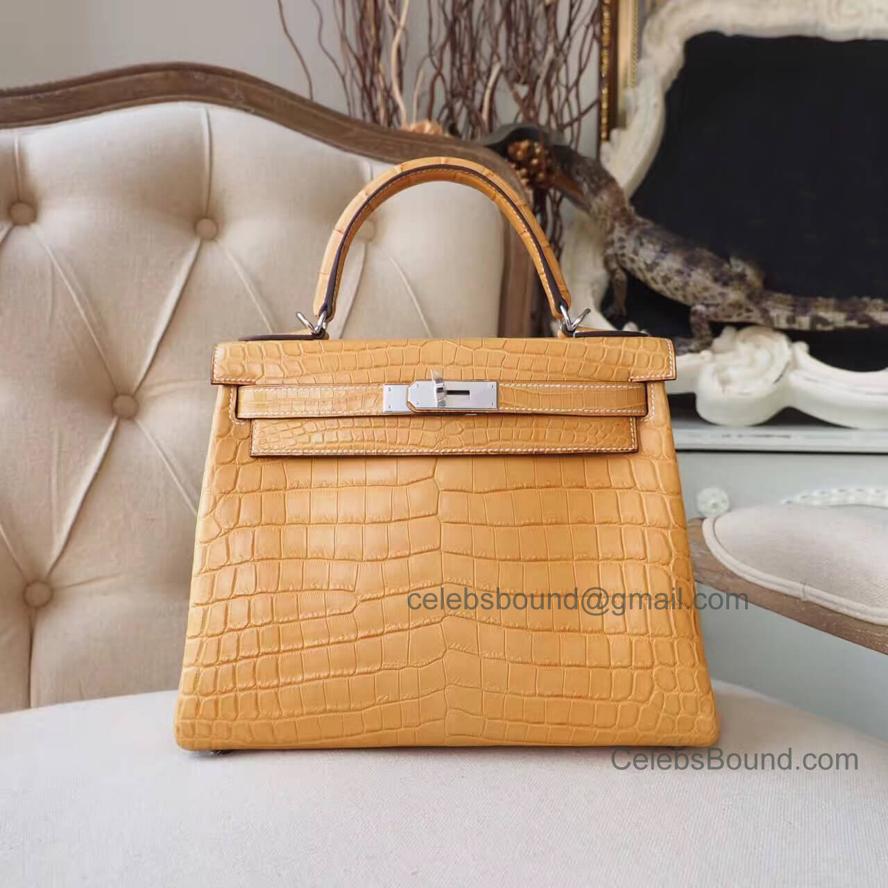 Replica Hermes Kelly 28 Bag in 1a Mais Matte Nile Croc PHW