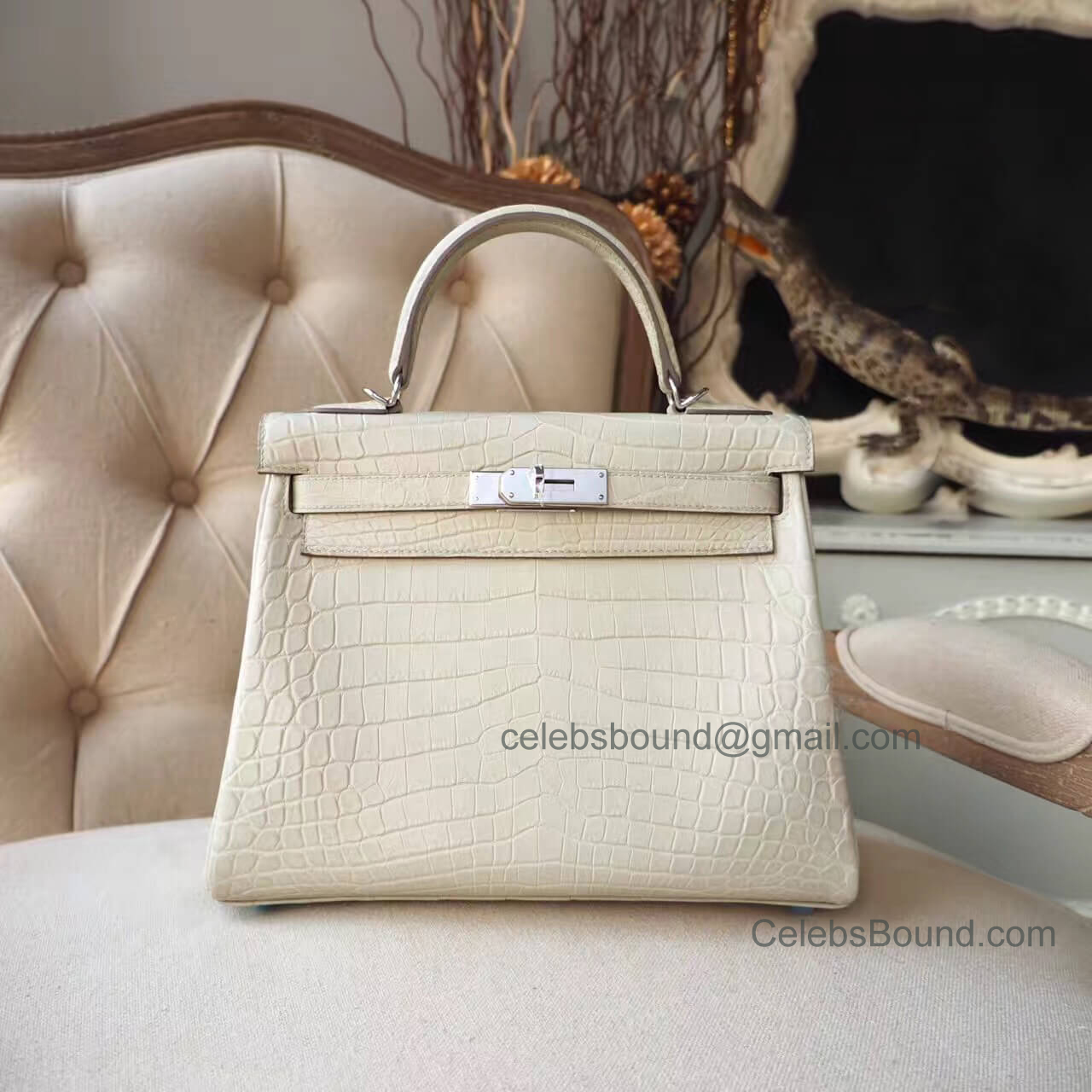 Replica Hermes Kelly 28 Bag in 8L Beton Matte Nile Croc PHW