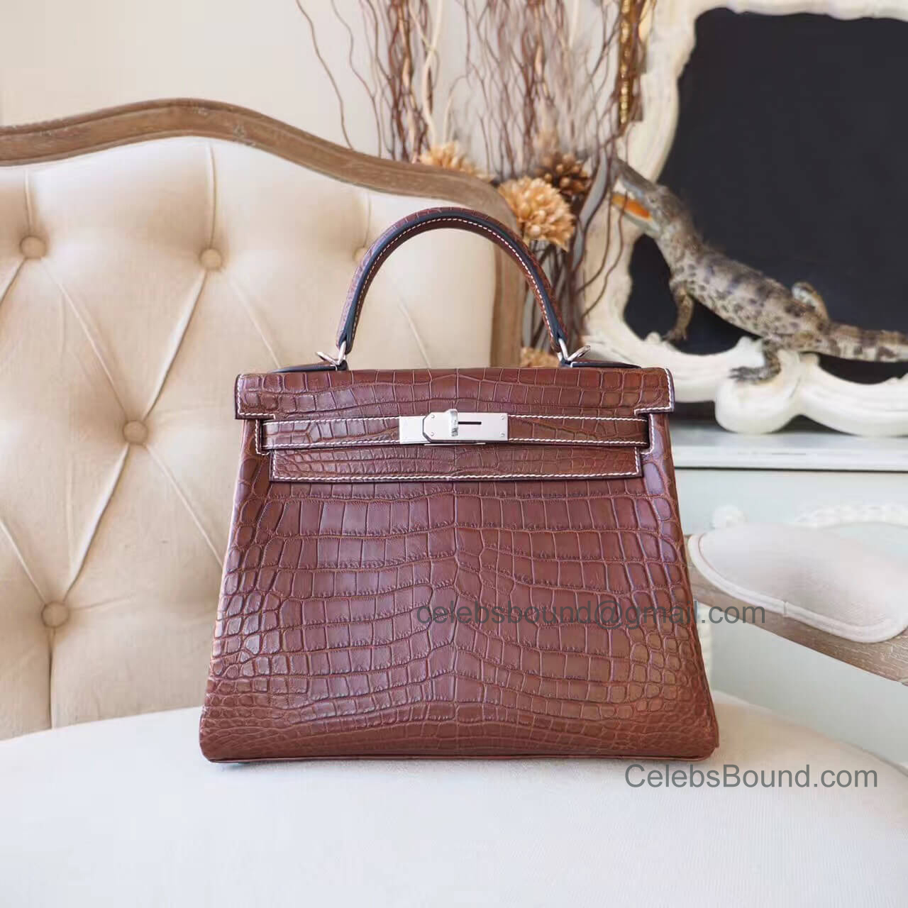 Replica Hermes Kelly 28 Bag in ck31 Miel Matte Nile Croc PHW