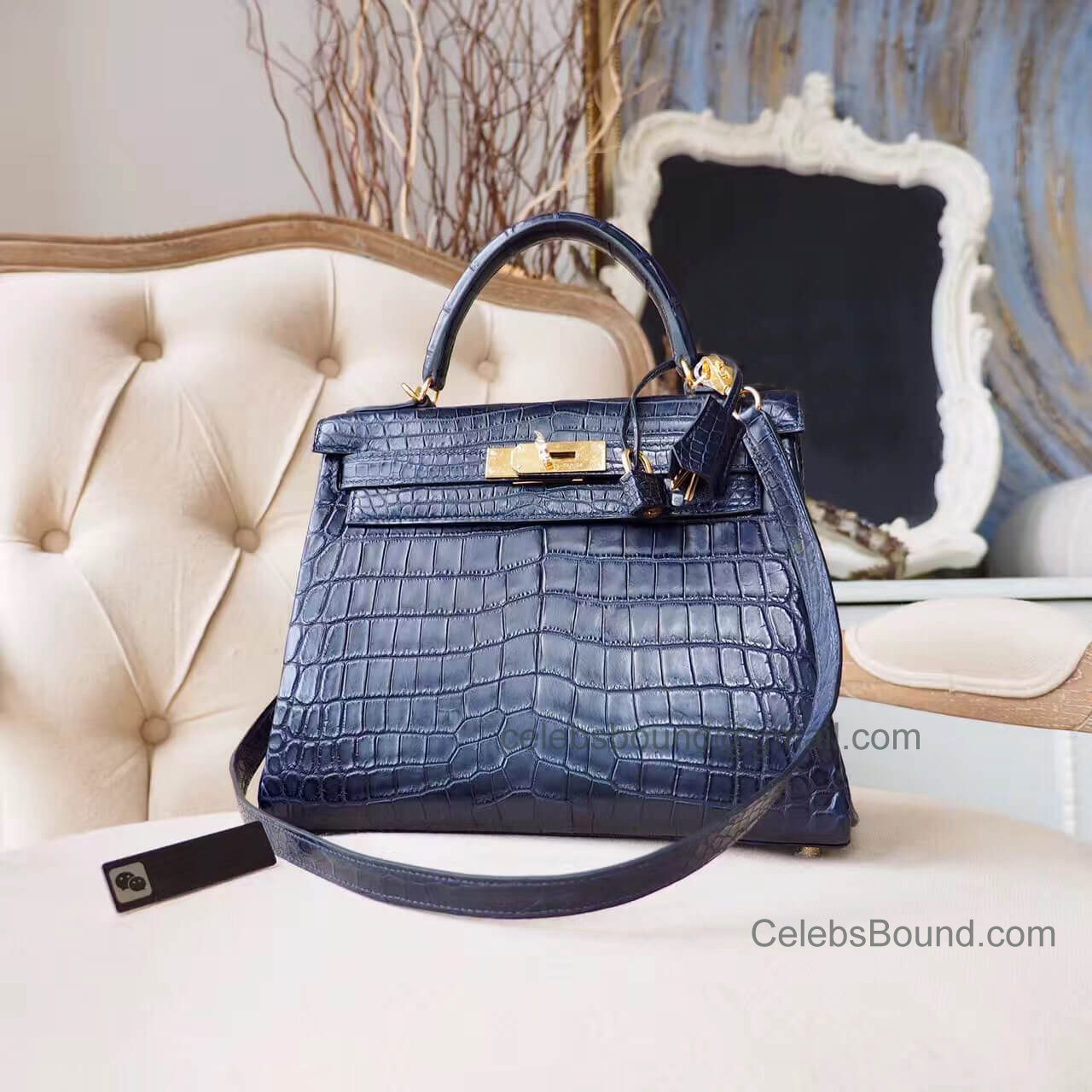 Replica Hermes Kelly 28 Bag in ck76 Blue Indigo Matte Nile Croc GHW