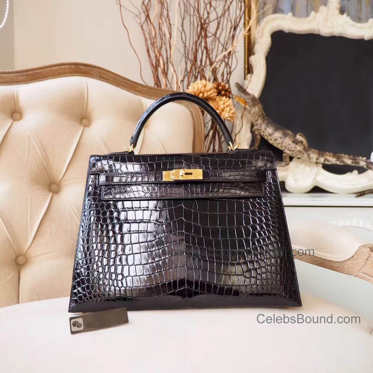 Replica Hermes Kelly 32 Bag in ck89 Noir Shiny Porosus Croc GHW