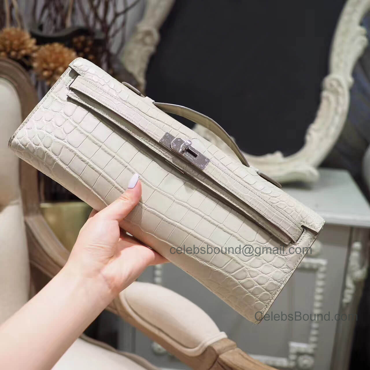 Replica Hermes Kelly Cut 31 Clutch in 8L Beton Matte Porosus Croc PHW