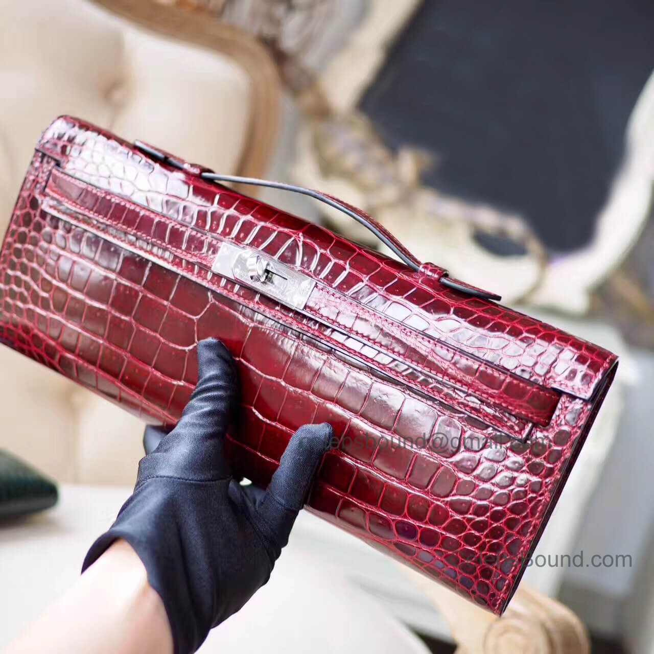 Replica Hermes Kelly Cut 31 Clutch in ck57 Bordeaux Shiny Porosus Croc PHW