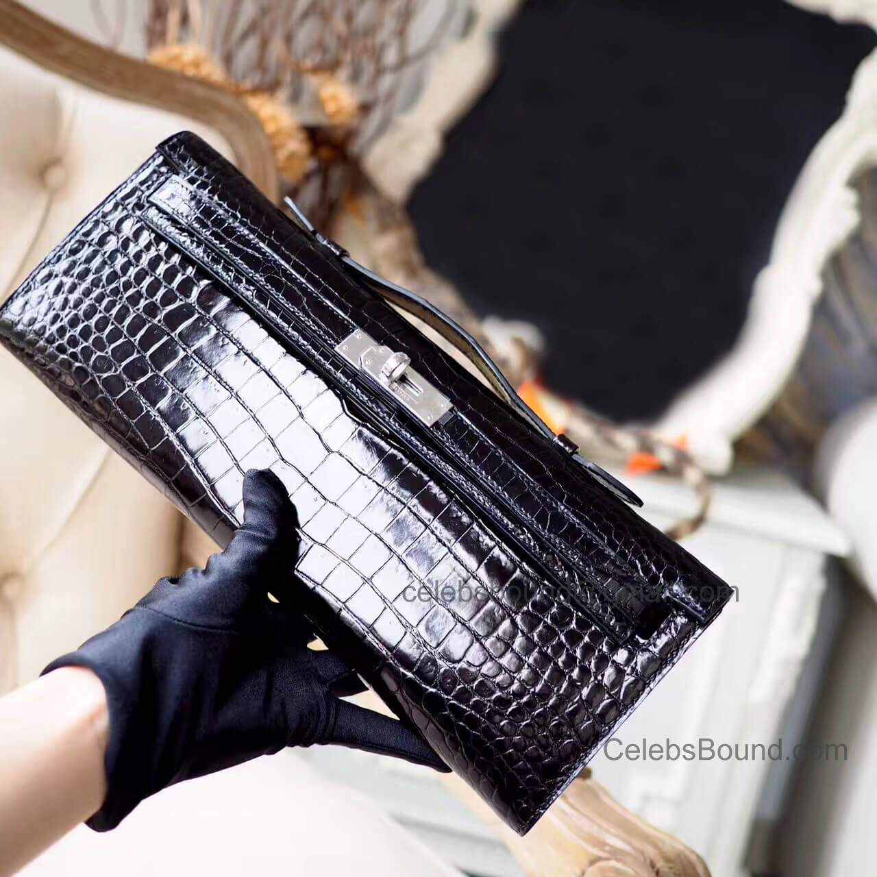 Replica Hermes Kelly Cut 31 Clutch in ck89 Noir Shiny Porosus Croc PHW