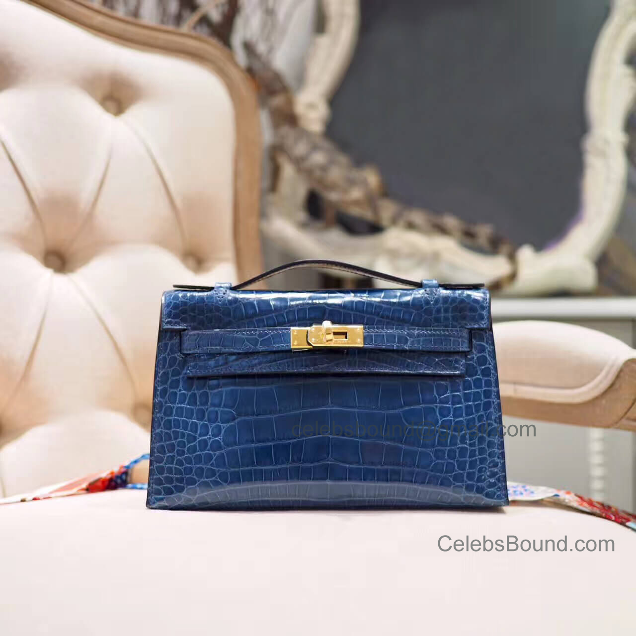 Replica Hermes Mini Kelly 22 Pochette Bag in 7a Blue Roy Shiny Alligator GHW