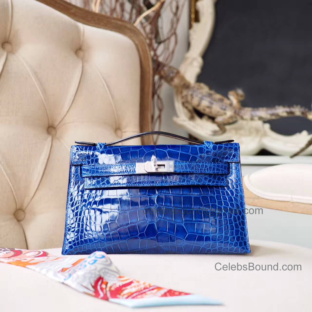 Replica Hermes Mini Kelly 22 Pochette Bag in Blue Electric Shiny Alligator PHW