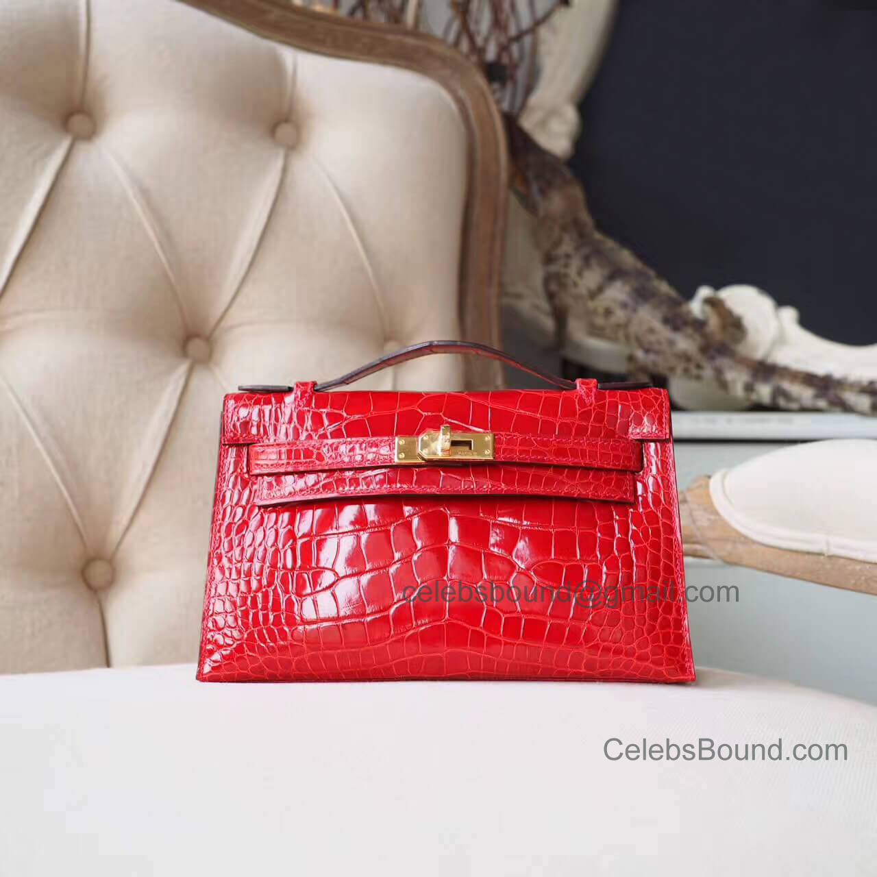 Replica Hermes Mini Kelly 22 Pochette Bag in d5 Geranium Shiny Alligator GHW