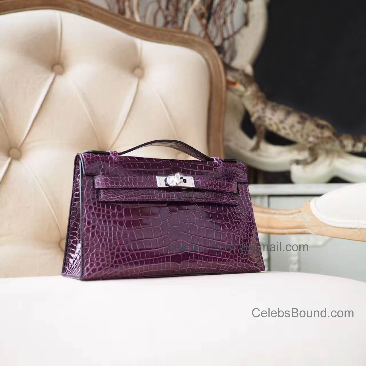 Replica Hermes Mini Kelly 22 Pochette Bag in n5 Cassis Shiny Alligator PHW