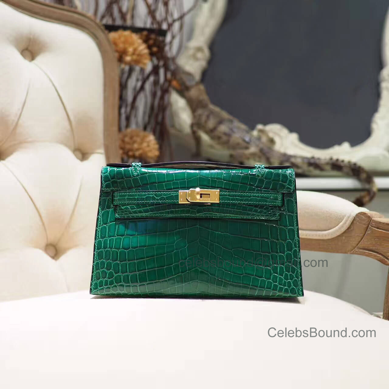 Replica Hermes Mini Kelly 22 Pochette Bag in Vert Emeraude Shiny Nile Croc GHW