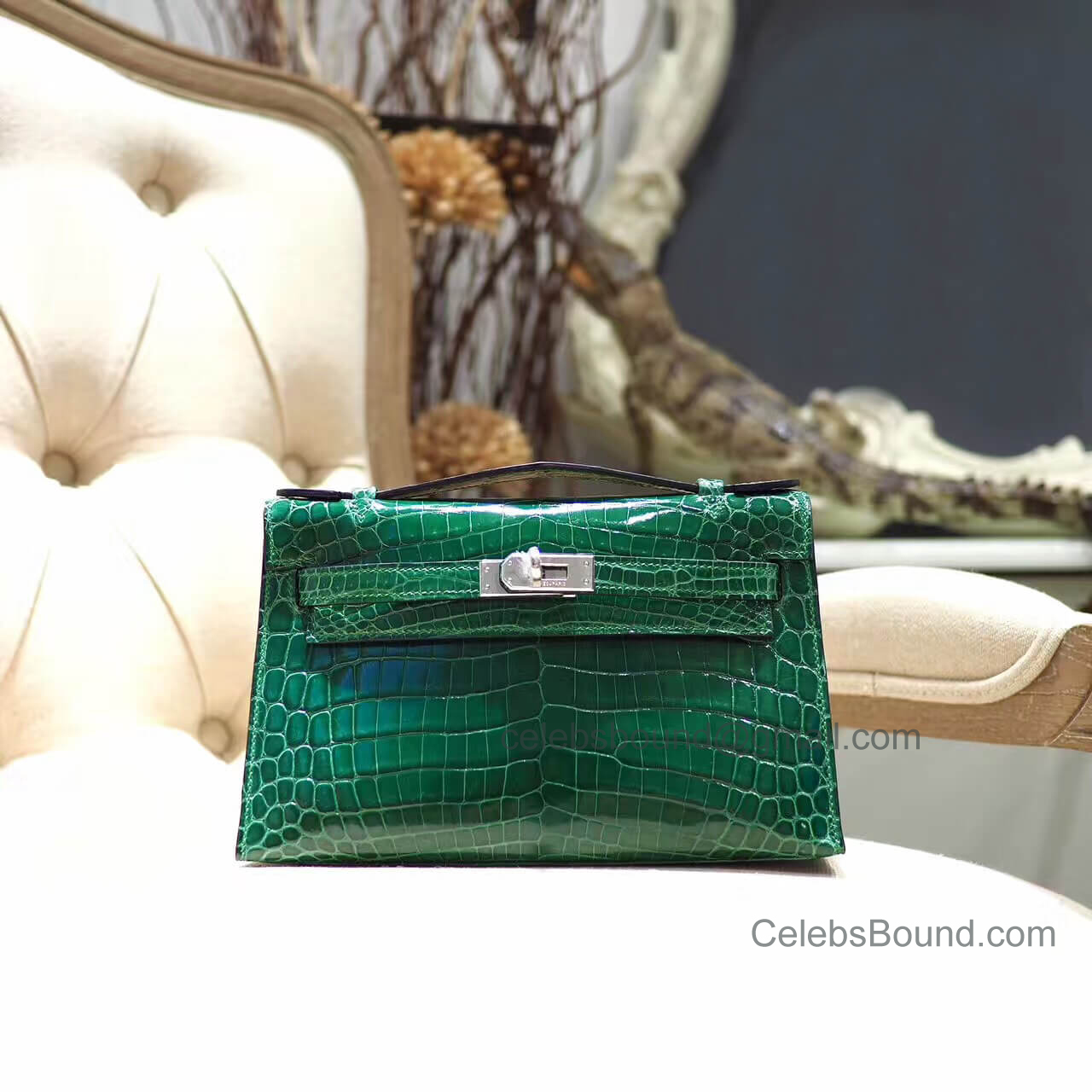 Replica Hermes Mini Kelly 22 Pochette Bag in Vert Emeraude Shiny Nile Croc PHW
