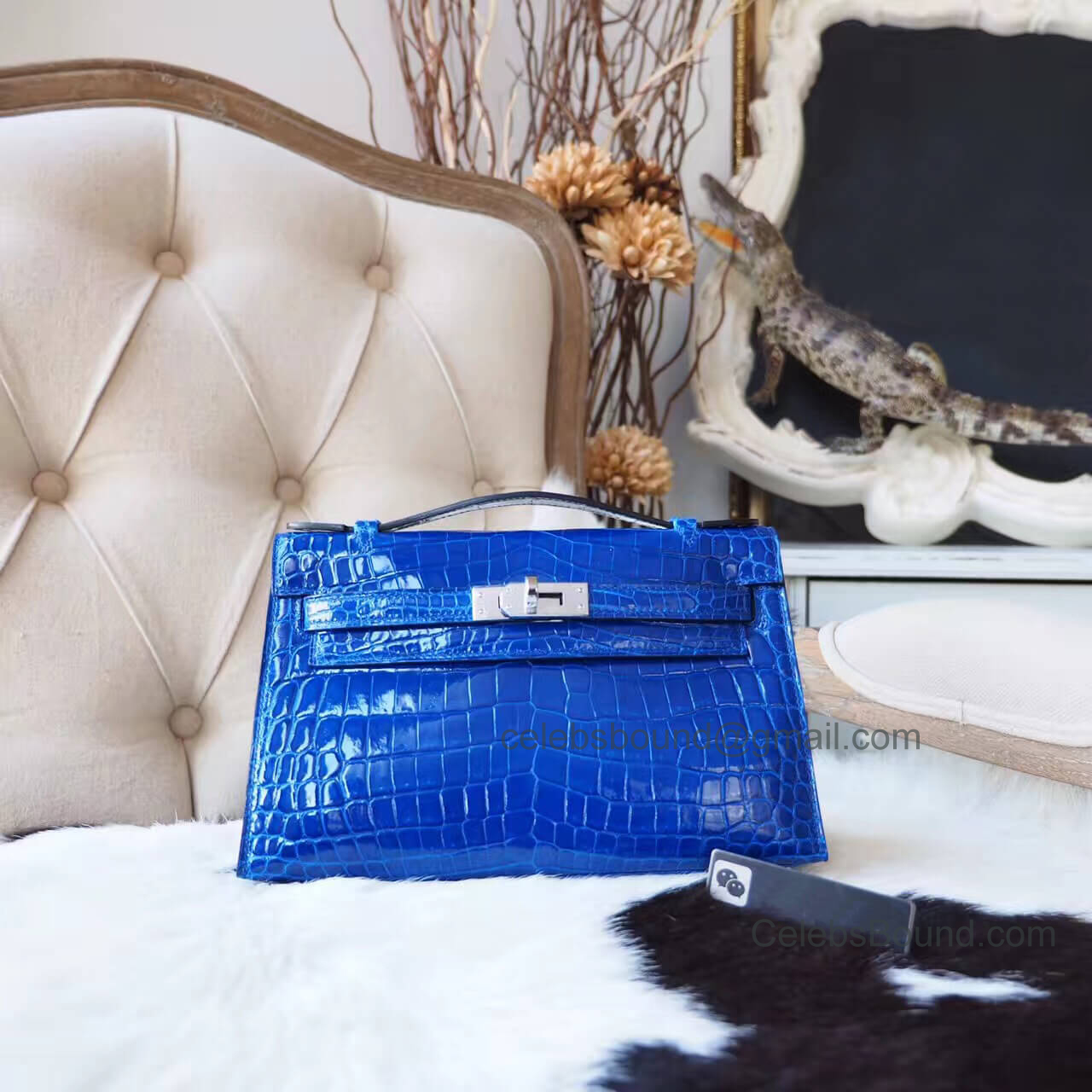 Replica Hermes Mini Kelly 22 Pochette Bag in Blue Electric Shiny Nile Croc PHW