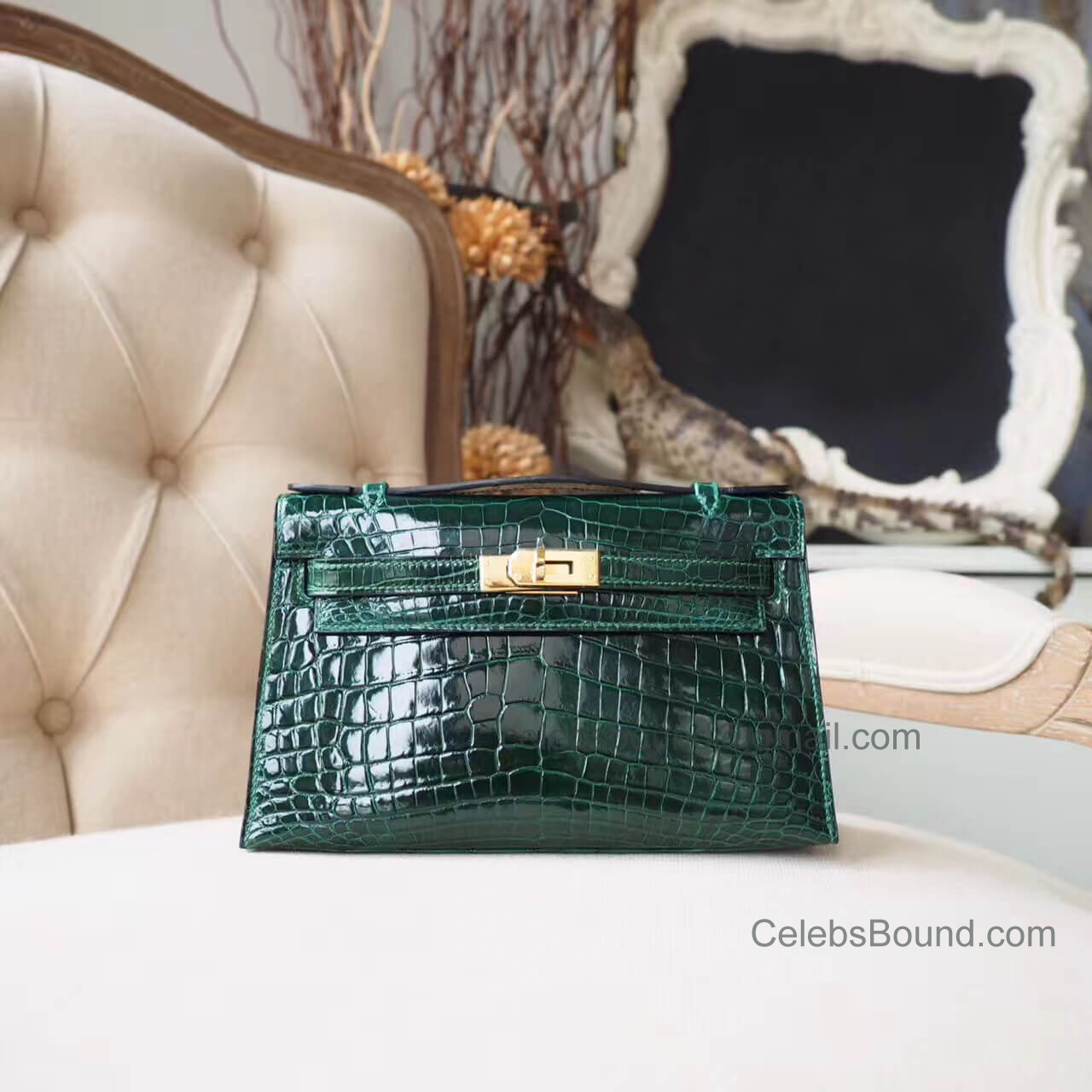 Hermes Mini Kelly 22 Pochette Bag in ck67 Vert Fonce Shiny Nile Croc GHW