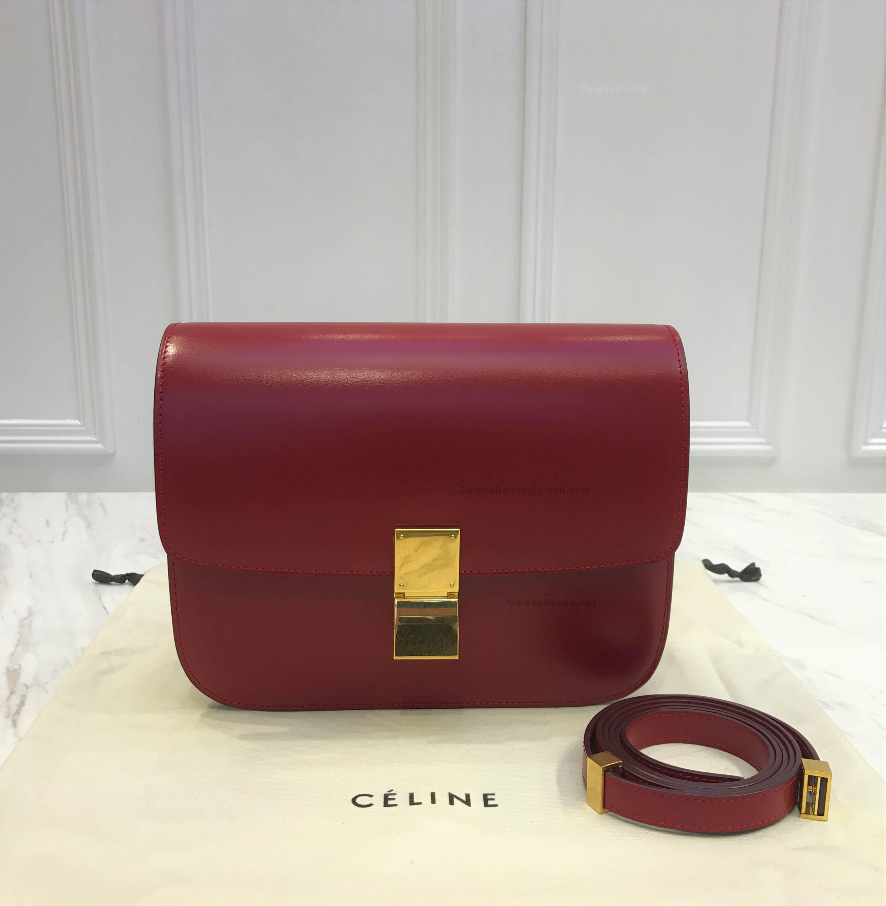 Celine Classic Box Bag Medium in Dark Red Liege Calfskin 6797311404225