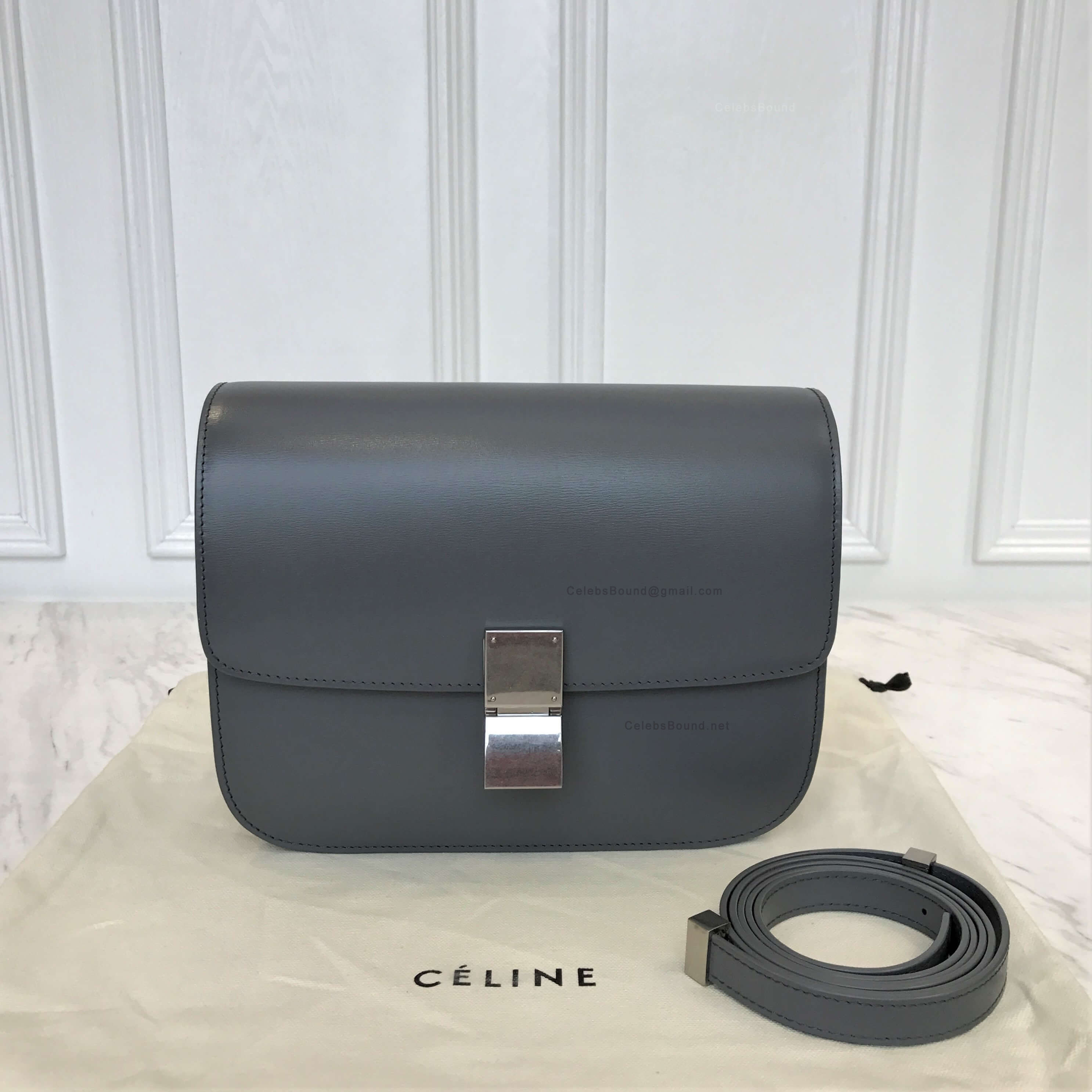 Celine Classic Box Bag Medium in Slate Grey Liege Calfskin