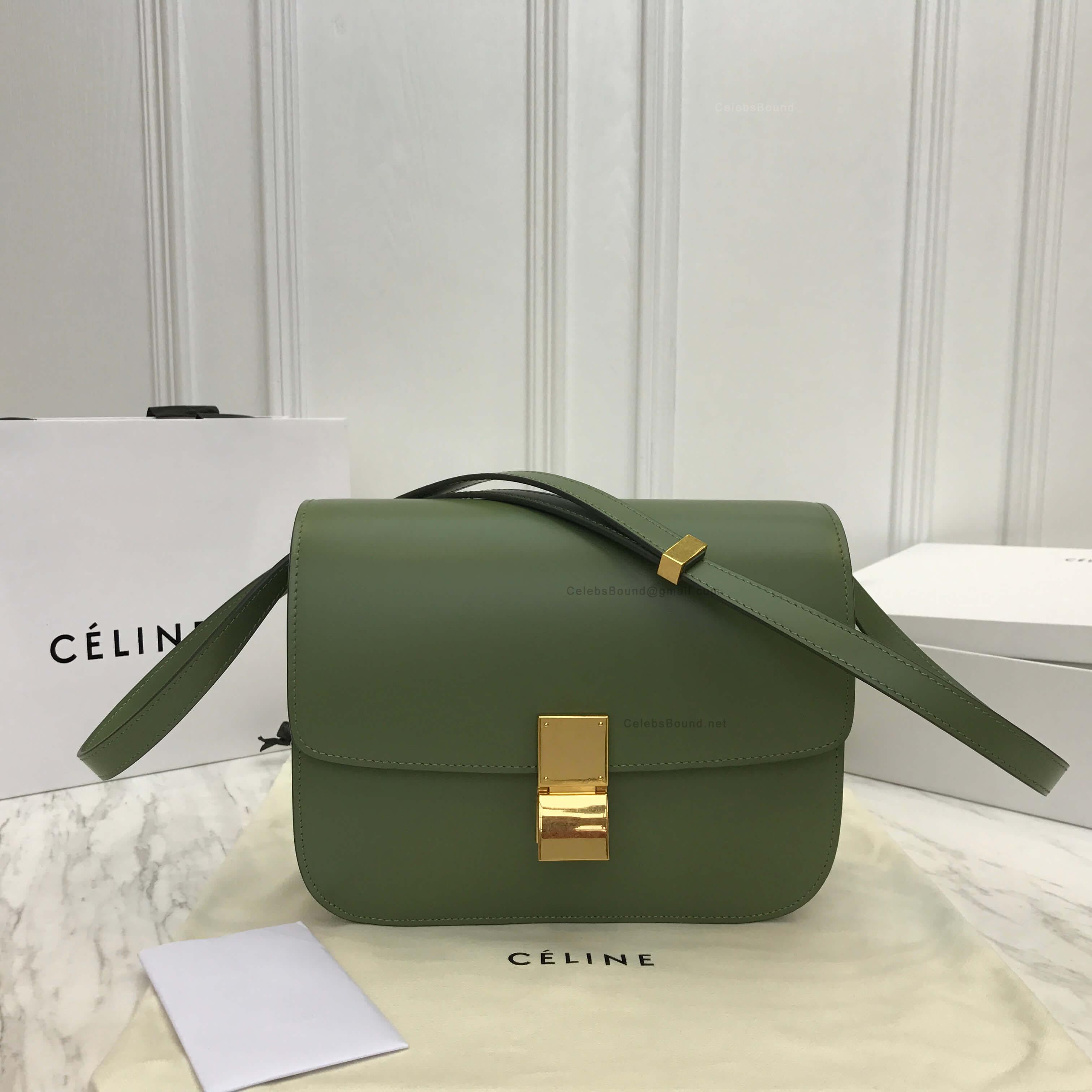 034e8df091e5 Celine Classic Box Bag Medium in Olive Liege Calfskin