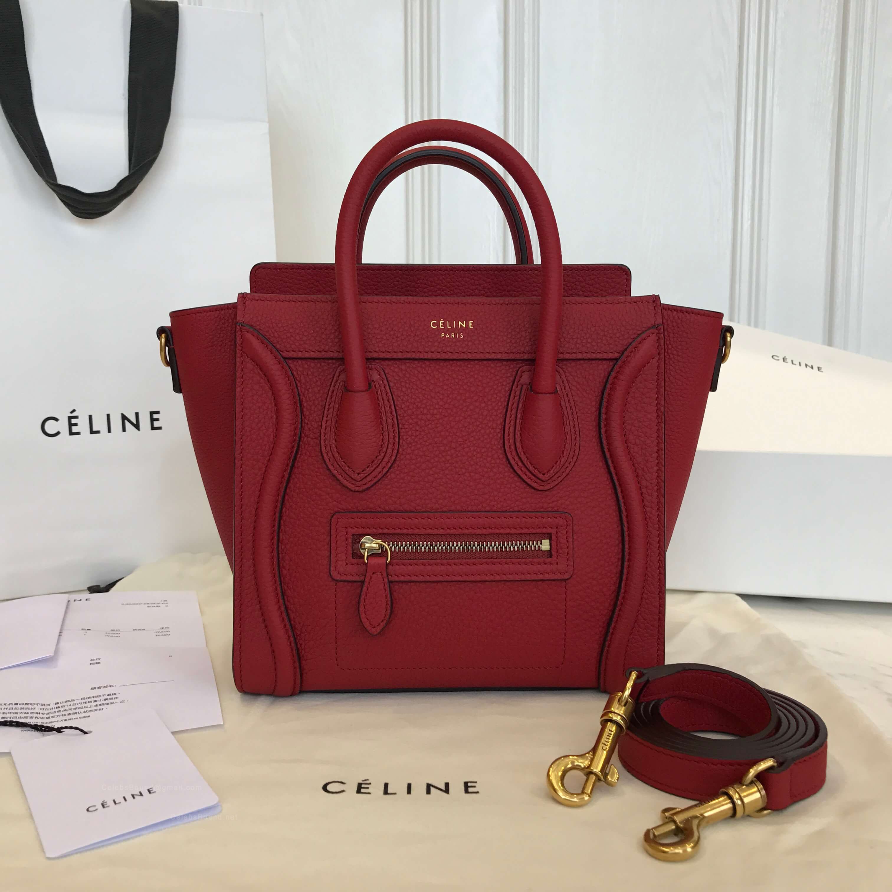 a3575b15c52a9 Celine Nano Luggage Handbag in Red Grained Calfskin -