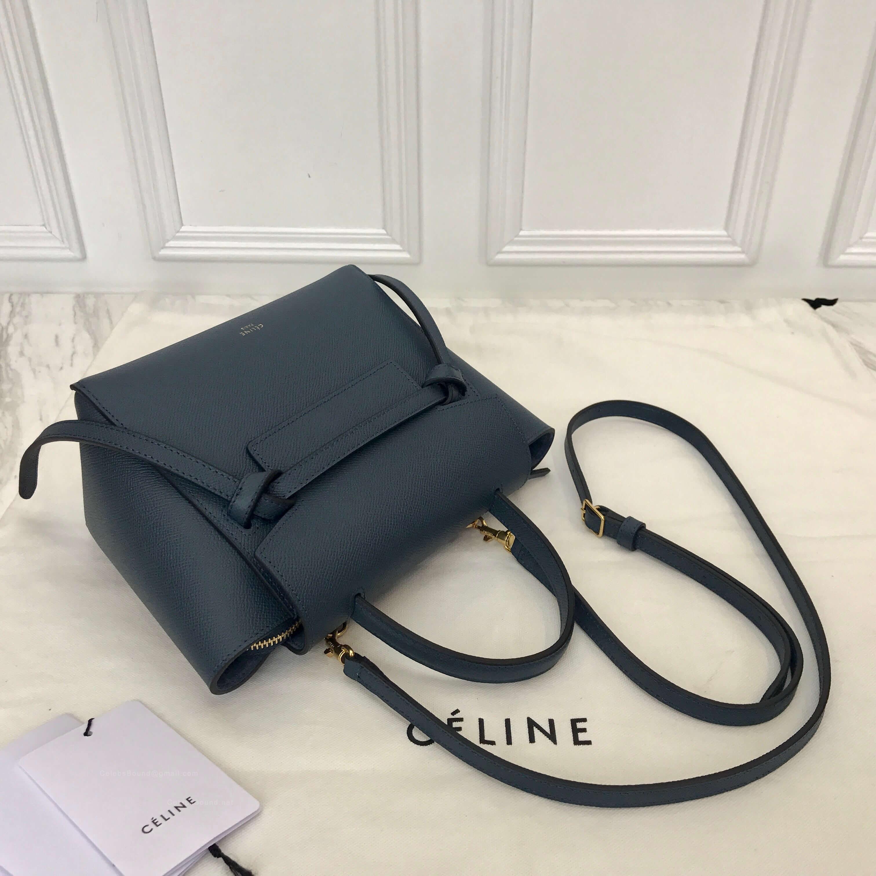 Celine Nano Belt Bag In Matt Blue Grained Calfskin