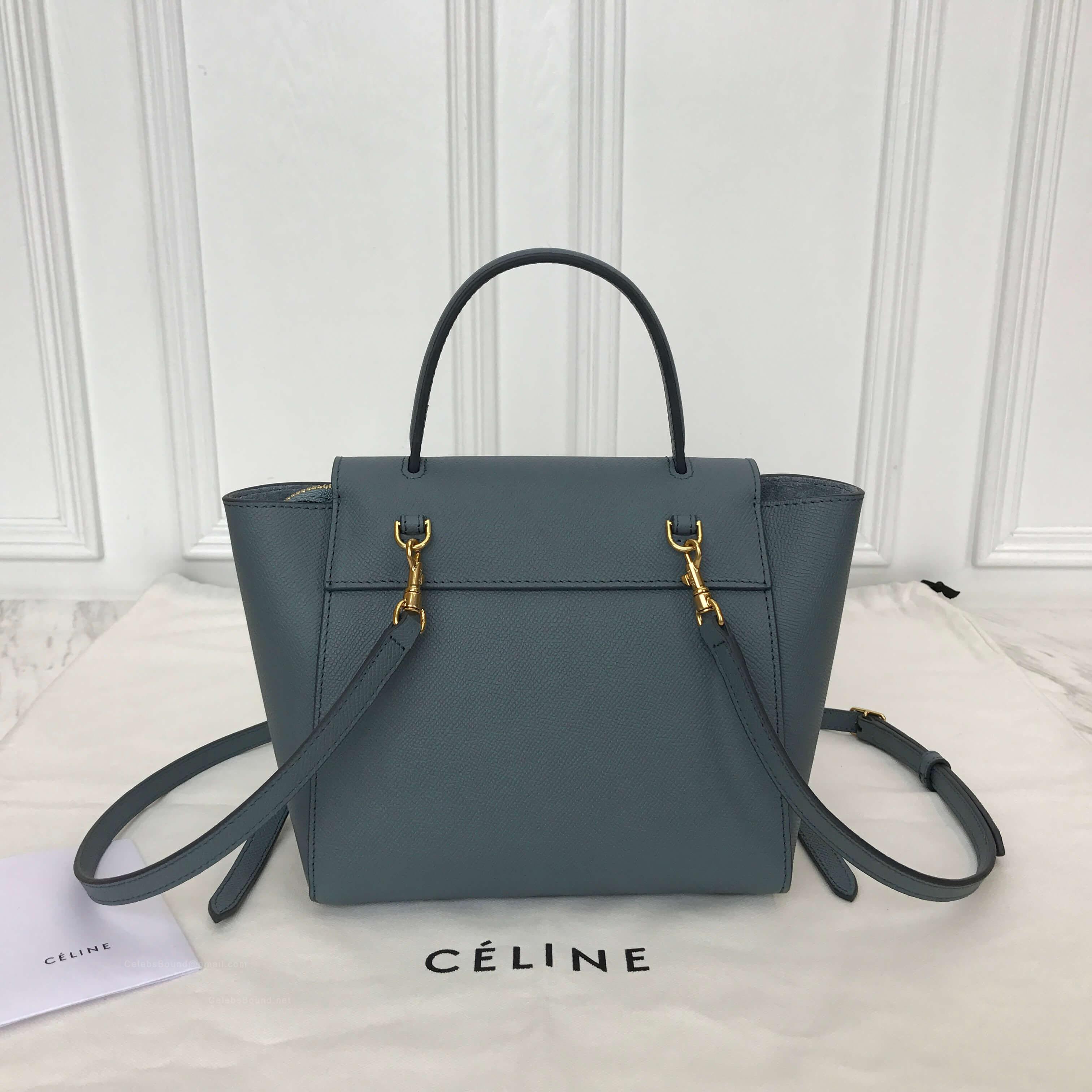Celine Nano Belt Bag In Cloud Blue Grained Calfskin