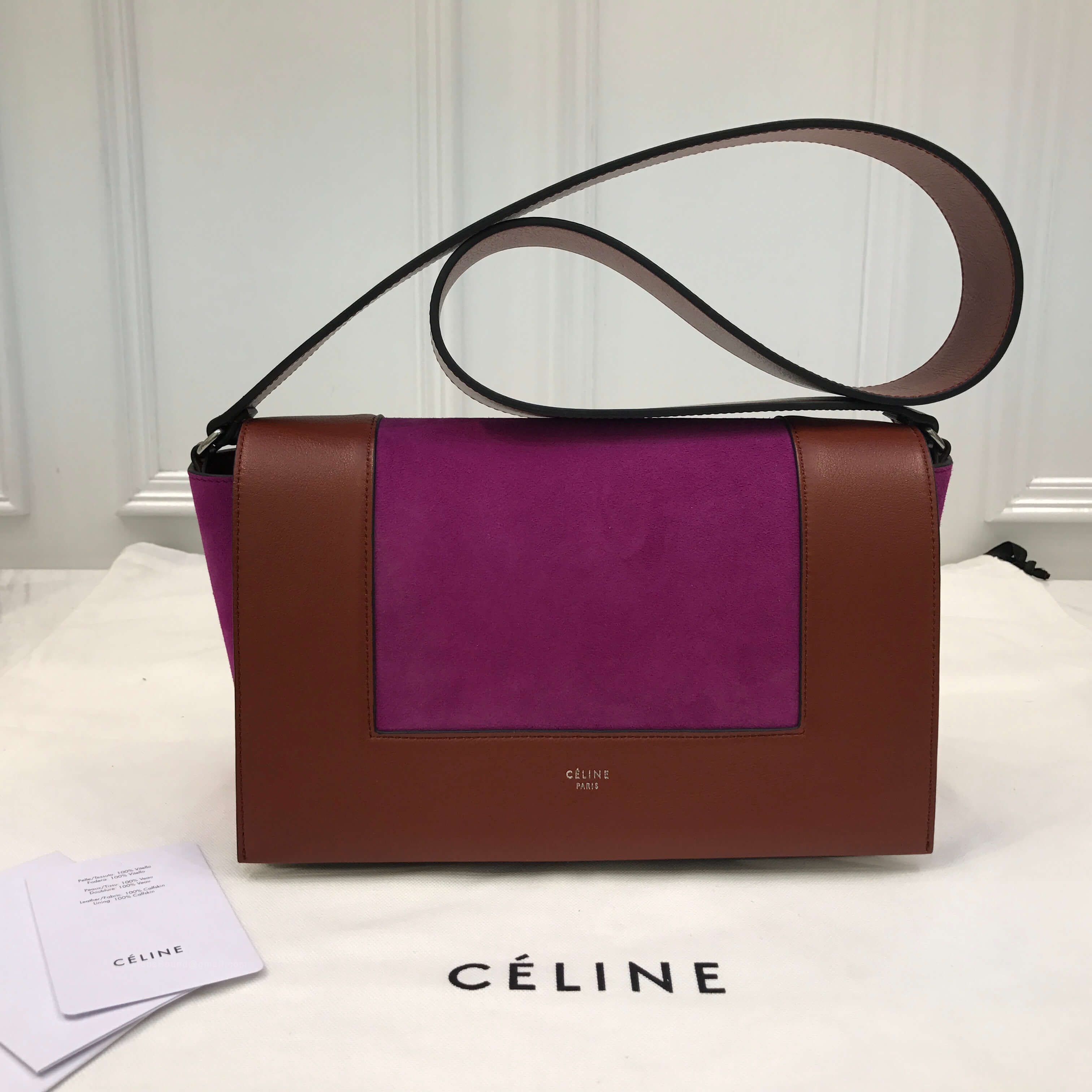 85491bfdac21 Celine Medium Frame Bag in Burnt Red and Magenta Smooth Calfskin -