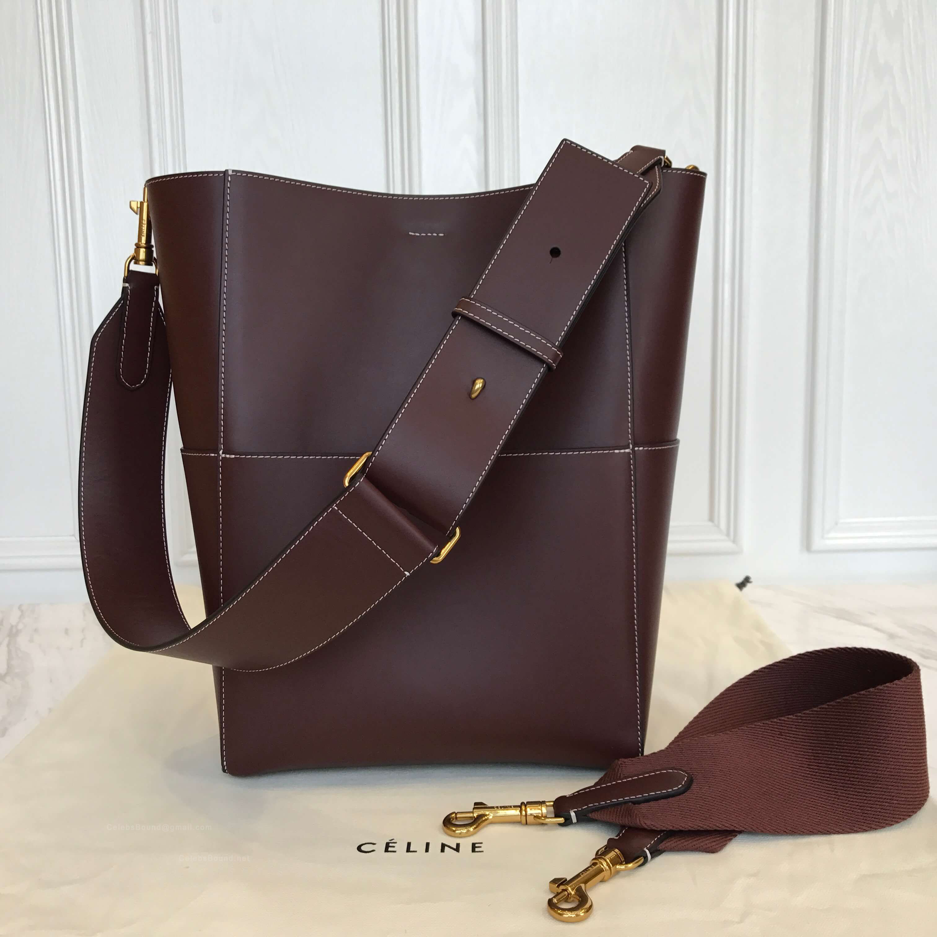 0f5a0b8106 Celine Sangle Bucket Bag in Chestnut Smooth Calfskin