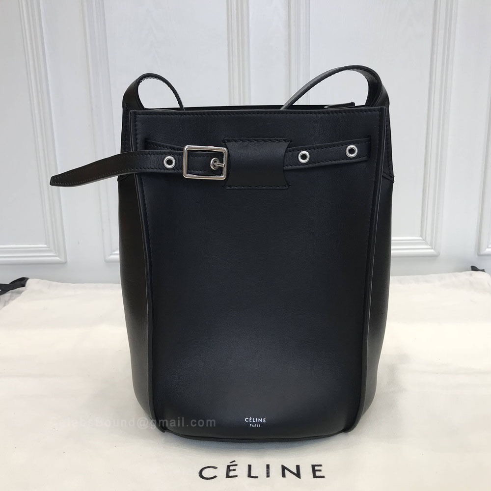 Celine Big Bag Bucket With Long Strap in Black Smooth Calfskin