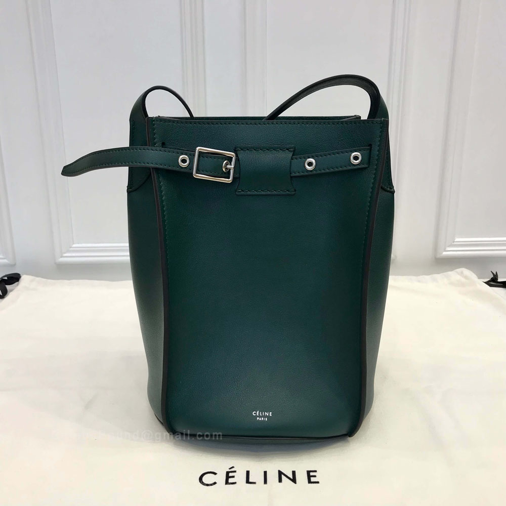 Celine Big Bag Bucket With Long Strap in Vert Anglais Soft Bare Calfskin