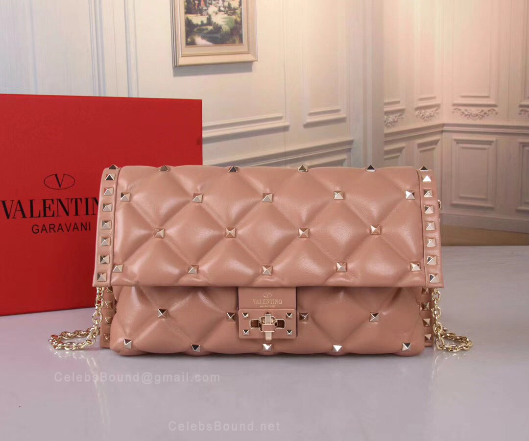 Valentino Quilted Candystud Crossbody Shoulder Bag Lotus