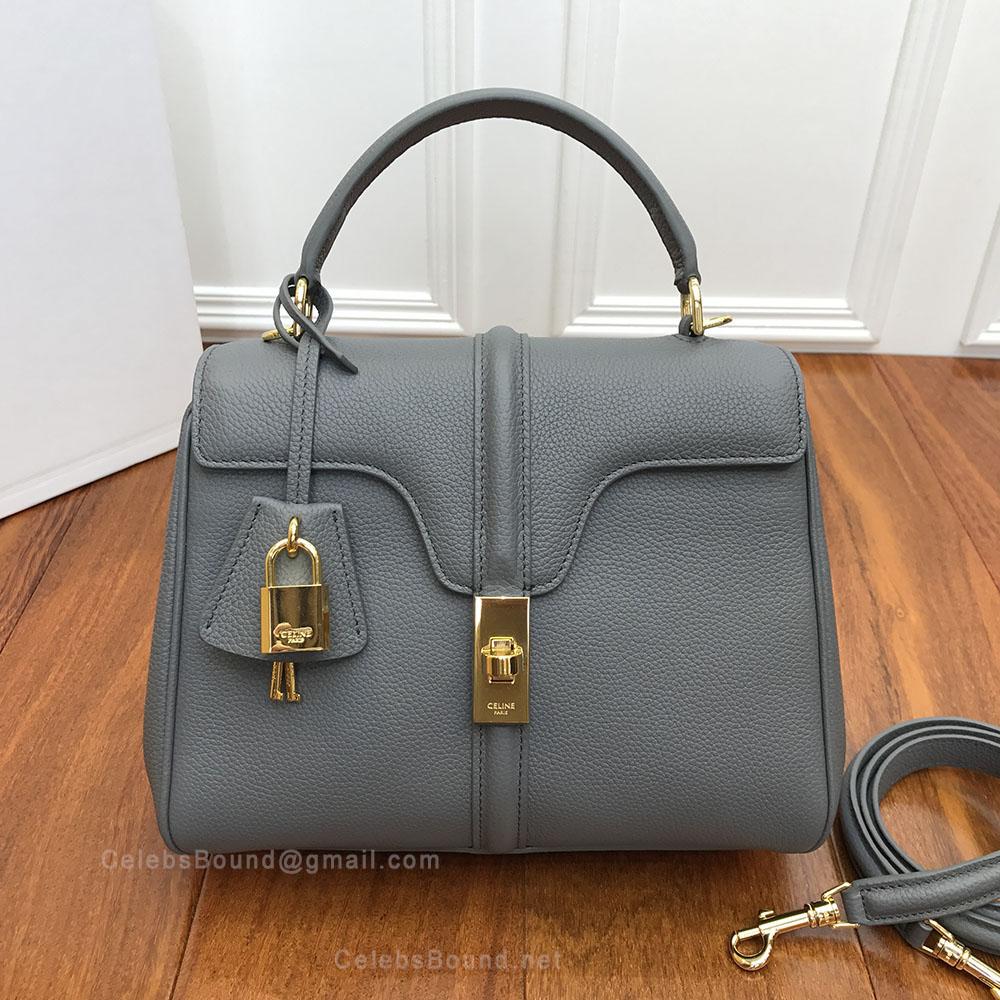 672331087ff0 Celine Small 16 Bag in Medium Grey Grained Calfskin -