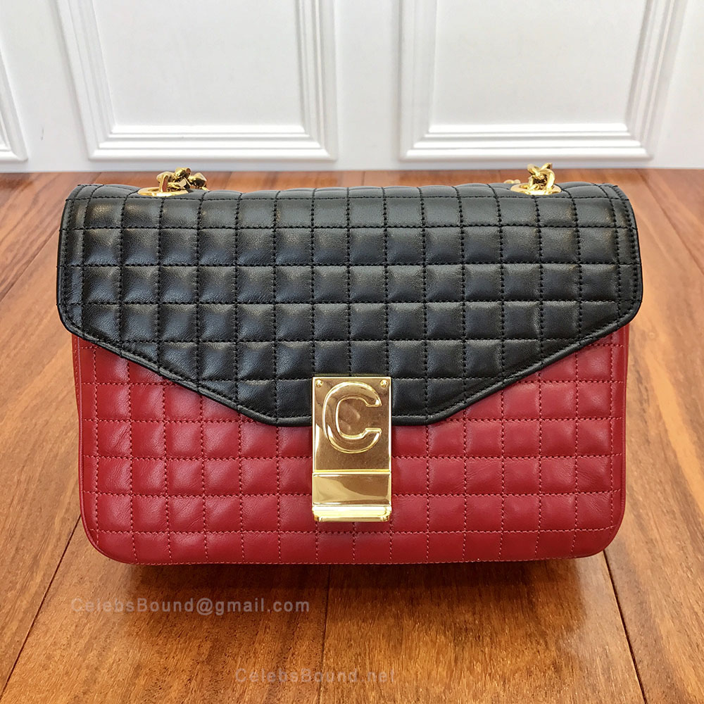 Celine Medium C Bag in Red / Black Quilted Calfskin
