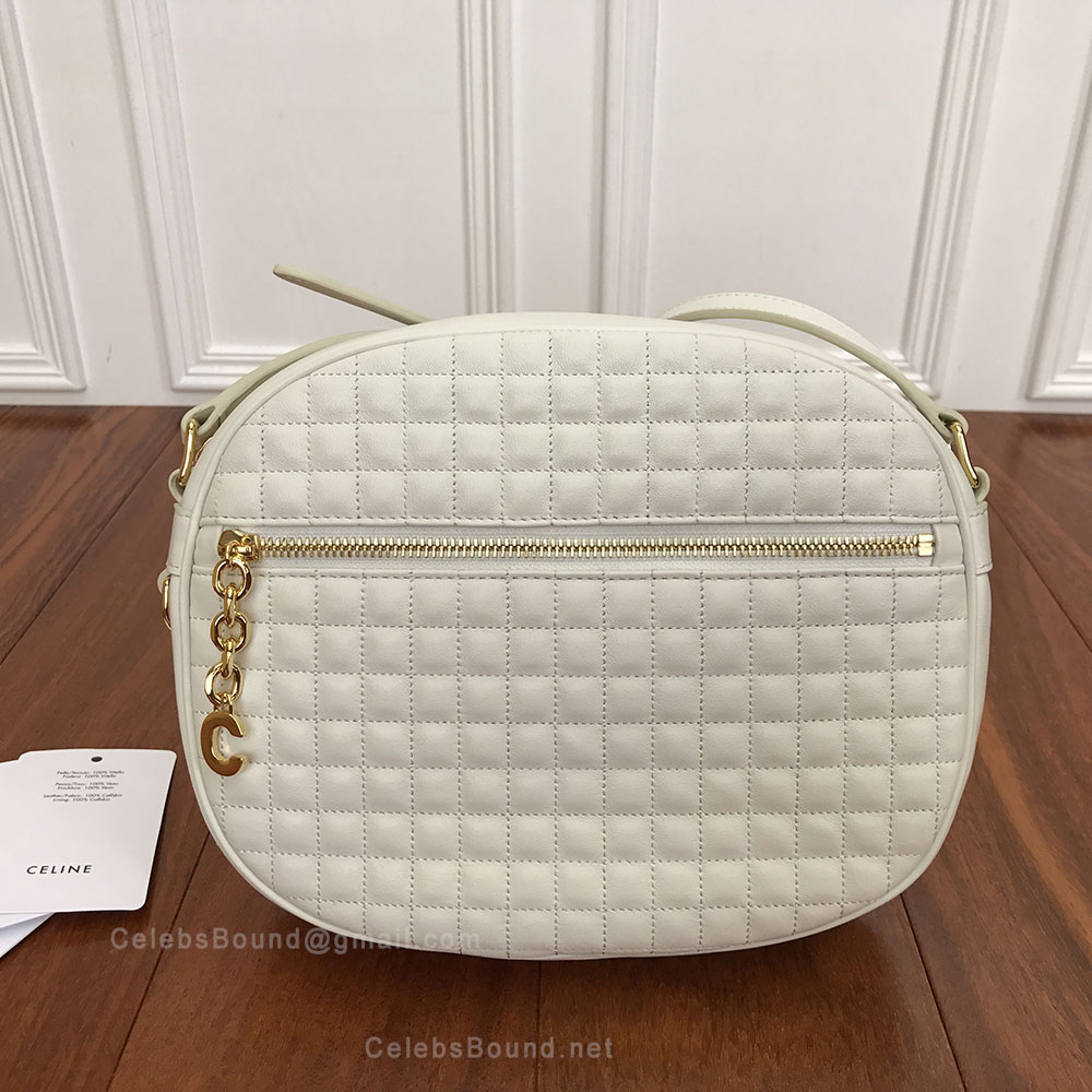 Celine Medium C Charm Bag in White Quilted Calfskin