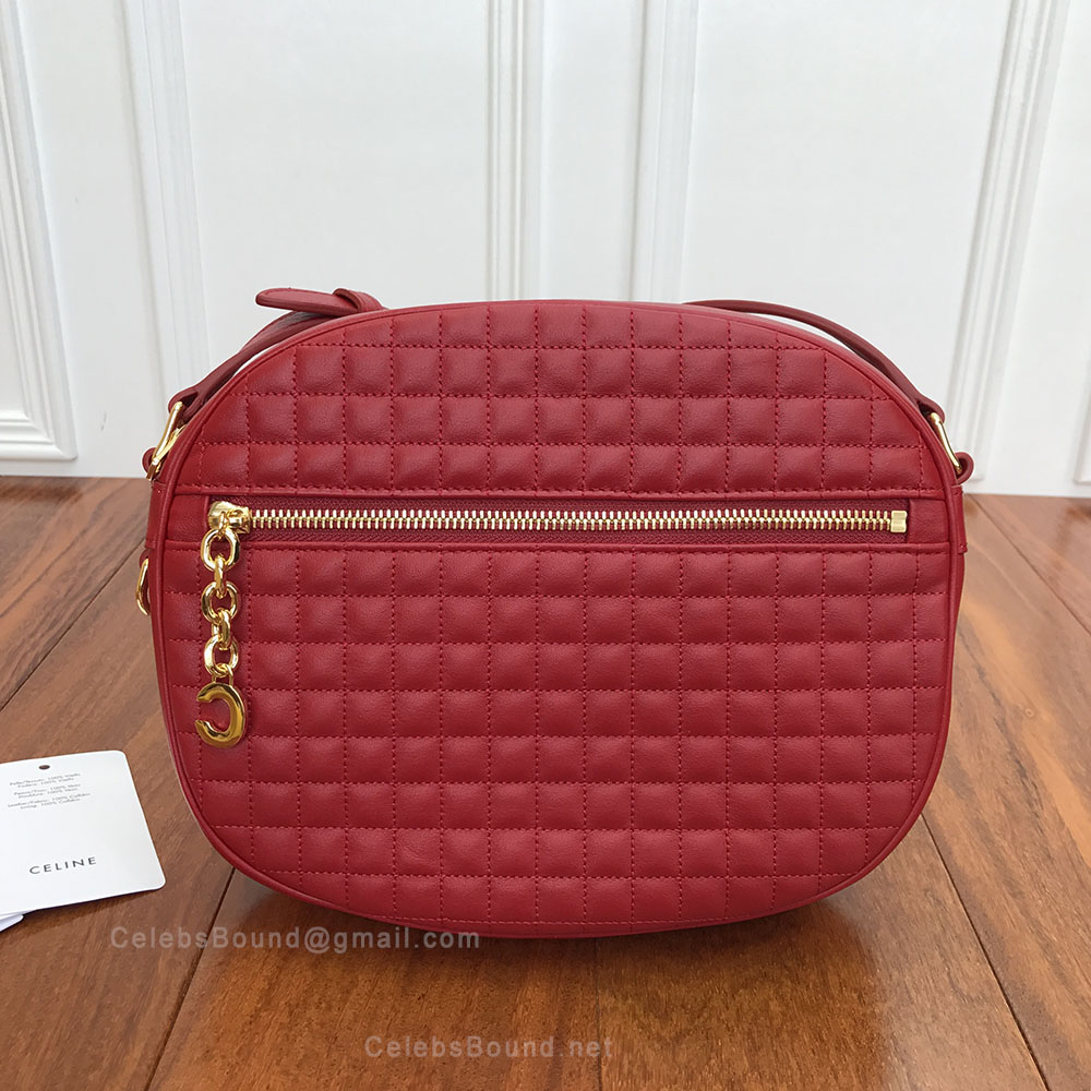 Celine Medium C Charm Bag in Red Quilted Calfskin
