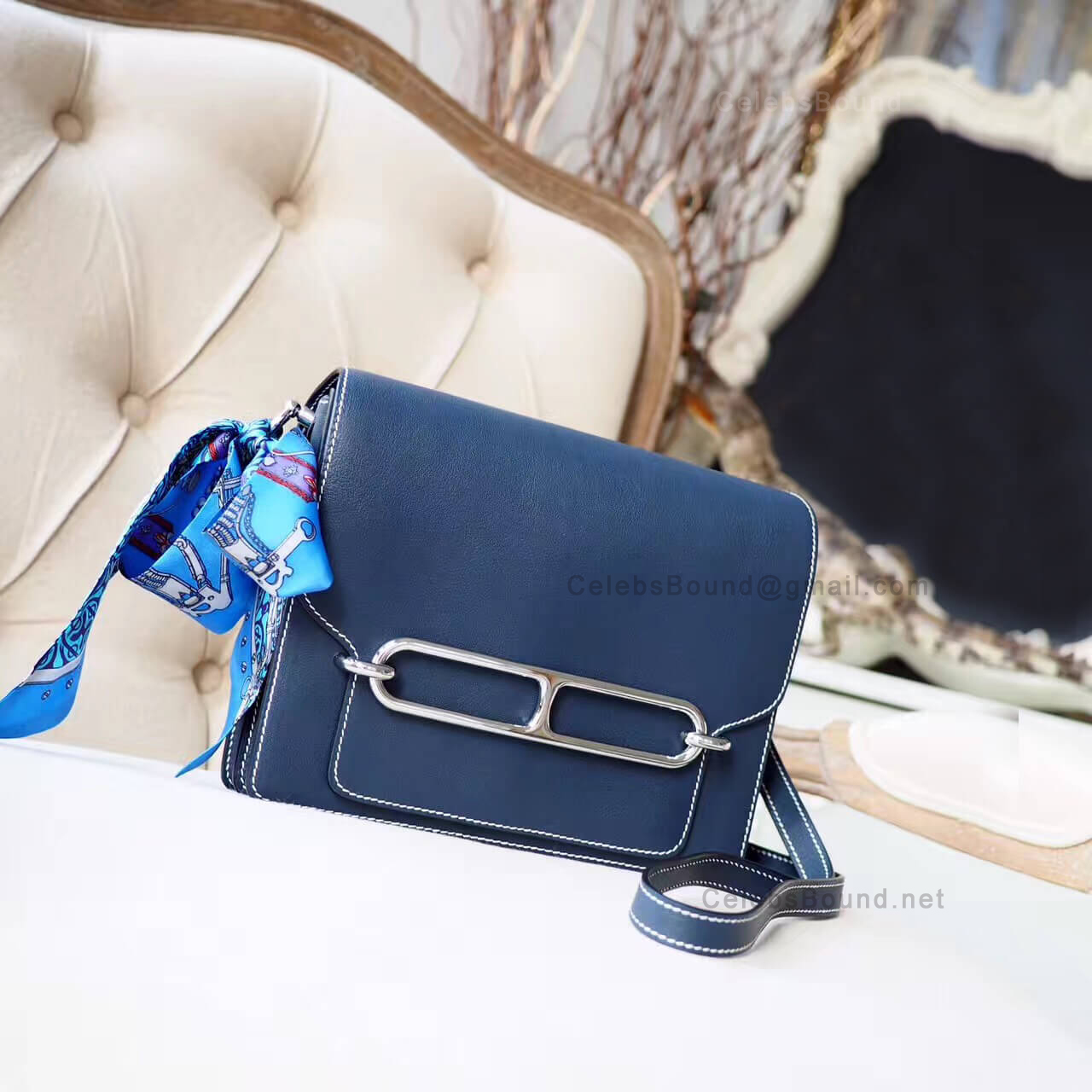 Hermes Roulis 23 Bag White Stitching in 2z Blue Nuit Evercolor PHW
