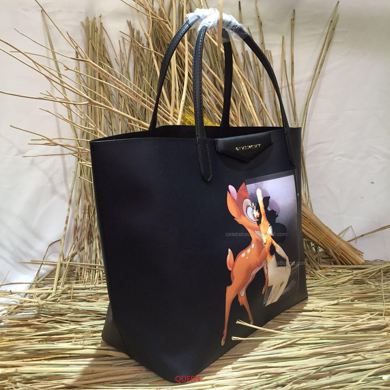 Givenchy Antigona Small Bambi Print Shopping Tote Black - 8e1282858