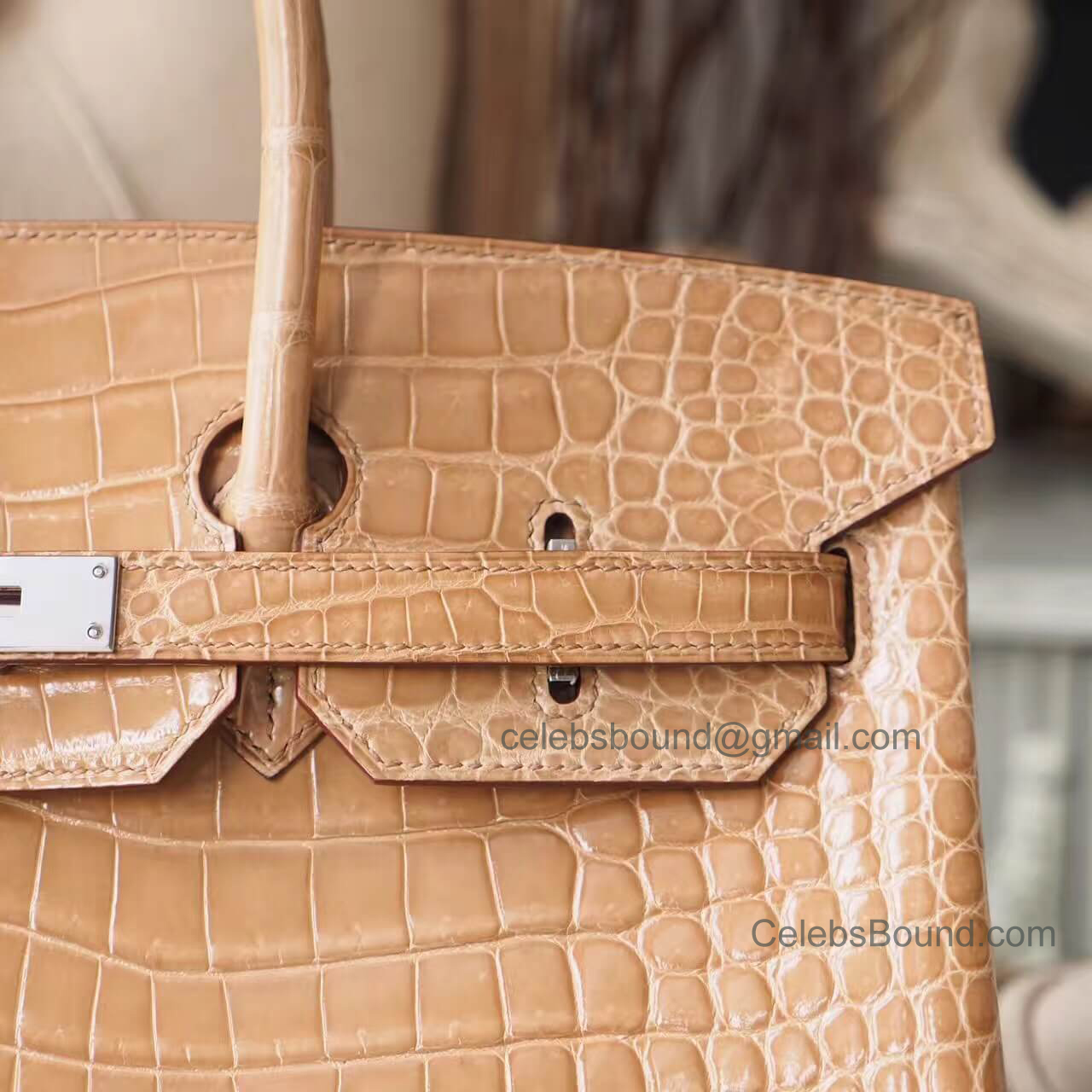 eda979c18c7b Copy Hermes Birkin 35 Bag in ck14 Beige Shiny Porosus Croc PHW -