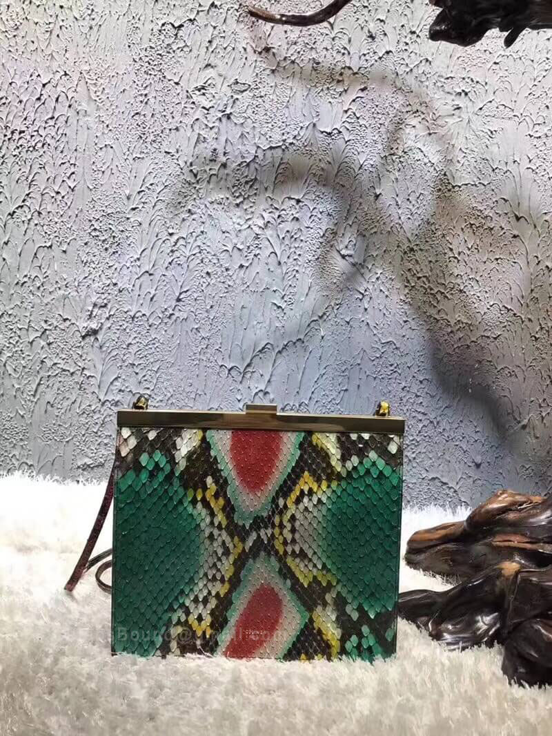Celine Mini Clasp Bag in Green Python Embossed Clafskin