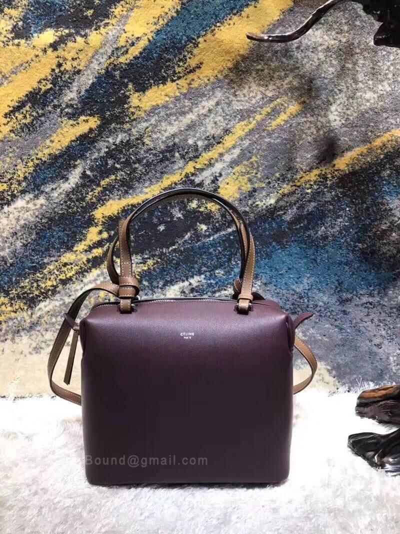 Celine Small Soft Cube Bag in Burgundy Smooth Calfskin