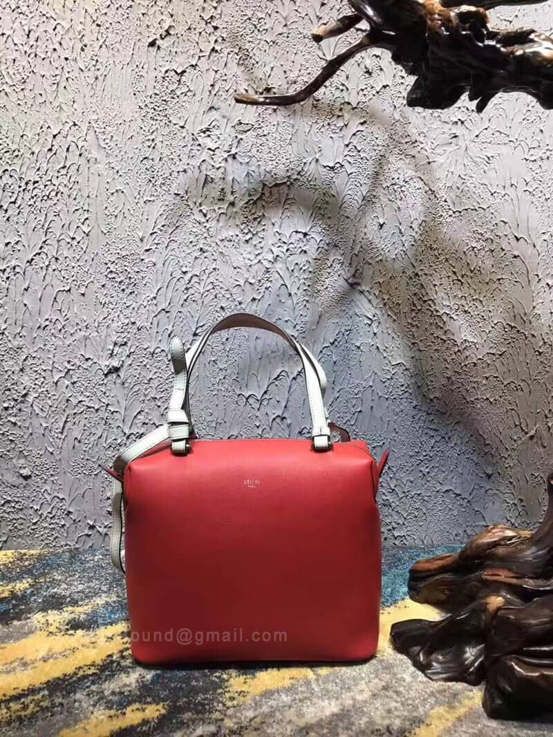 Celine Small Soft Cube Bag in Red Smooth Calfskin