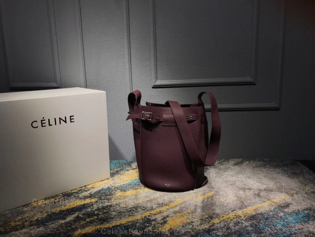 Celine Big Bag Bucket With Long Strap in Burgundy Supple Grained Calfskin