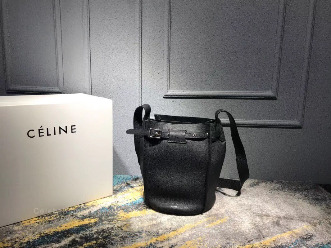Celine Big Bag Bucket With Long Strap in Black Supple Grained Calfskin