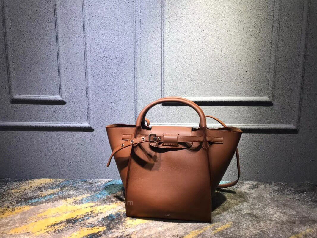 Celine Small Big Bag in Camel Soft Bare Calfskin