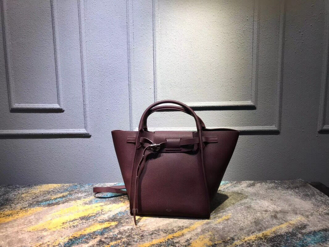 Celine Small Big Bag in Burgundy Supple Grained Calfskin
