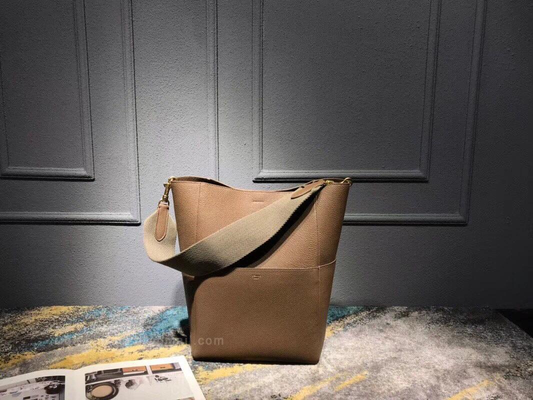 c1c215b1c26d Celine Sangle Bucket Bag in Tan Grained Calfskin