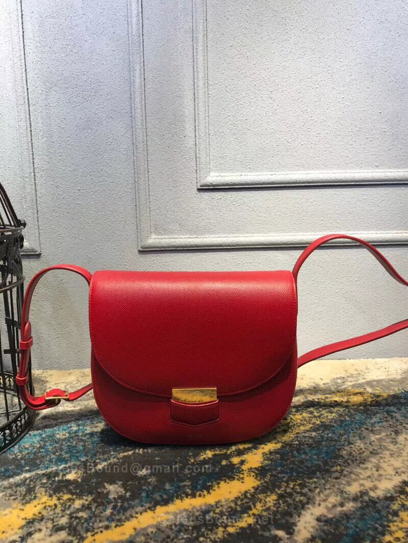 Celine Compact Trotteur Shoulder Bag in Red Grained Calfskin