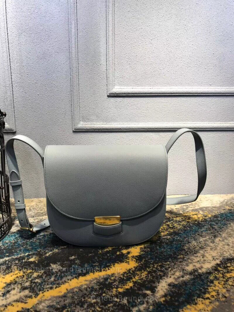 Celine Compact Trotteur Shoulder Bag in Pale blue Grained Calfskin