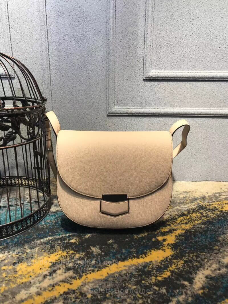 Celine Compact Trotteur Shoulder Bag in Light Taupe Grained Calfskin