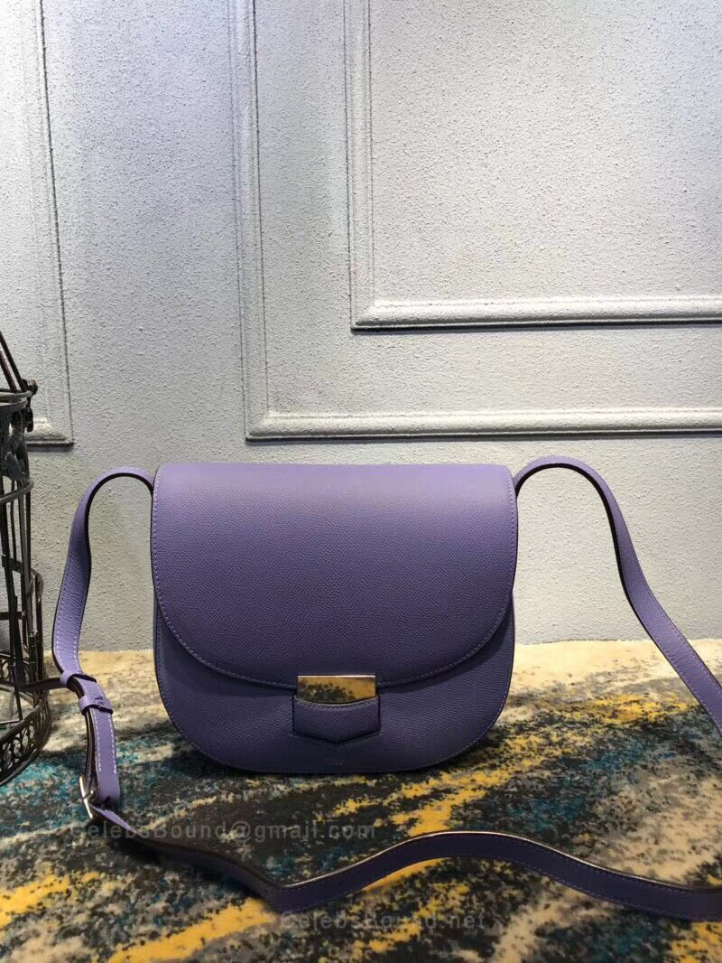 Celine Compact Trotteur Shoulder Bag in Lilac Grained Calfskin