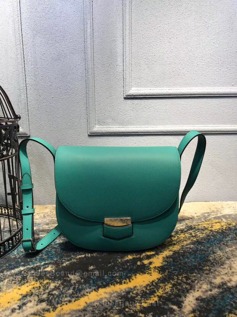 Celine Compact Trotteur Shoulder Bag in Pale green Grained Calfskin