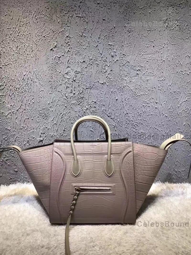 2365887588f Celine Luggage Phantom Bag Medium in Light Taupe Croc Embossed Leather